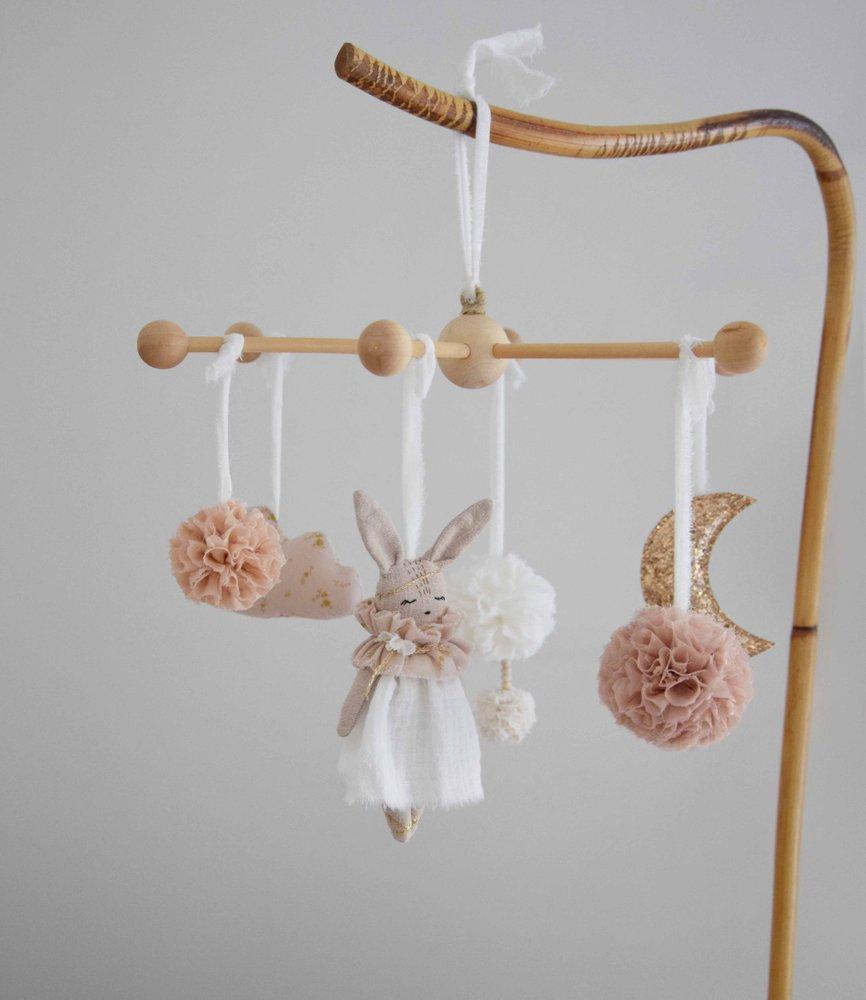 Talena et Louison Baby Bunny Mobile Handmade Provence - French bebe Nurser Mobile