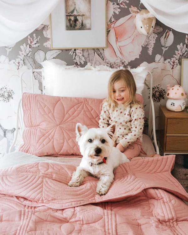 Bonne Mere Rose Quilt with Girl and Dog Little French Heart